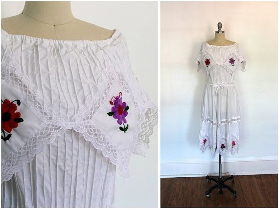 SALE 15 OFF  Vintage Mexican Dress / Wedding White by ThisBlueBird, $41.65