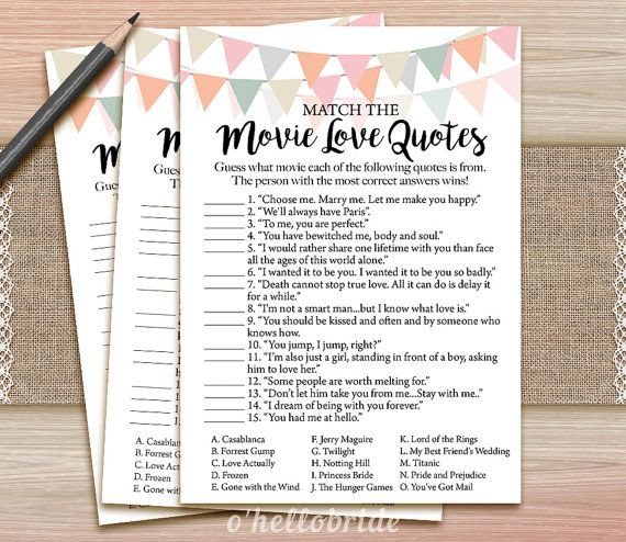 Movie Love Quote Match Game  Printable Coral Blush by ohellobride