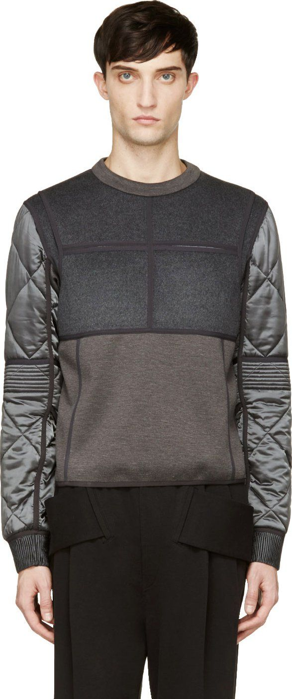 Calvin Klein Collection: Grey Quilted Cupro & Wool Gotham Sweatshirt