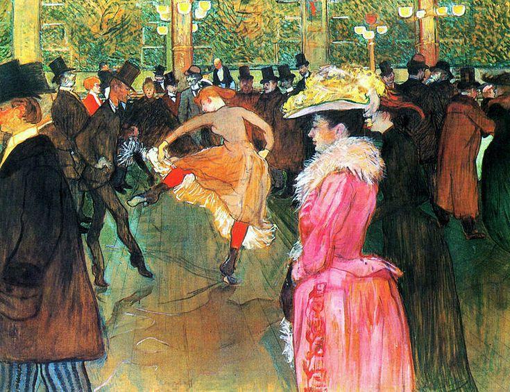 """""""Baile no Moulin Rouge"""".  (1890). (by Henri de Toulouse-Lautrec)."""