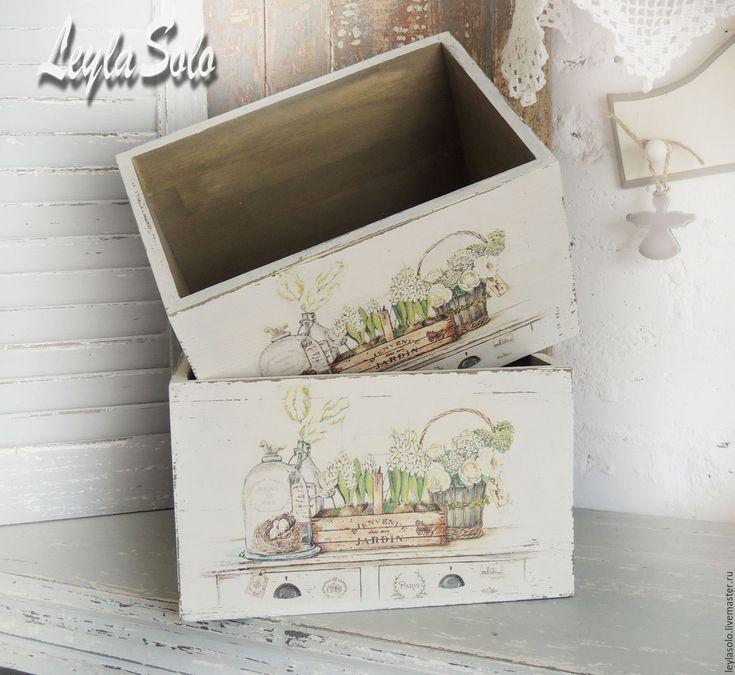 Купить короба для хранения в стиле прованс белые - короб, короб декупаж, коробка, короб для кухни