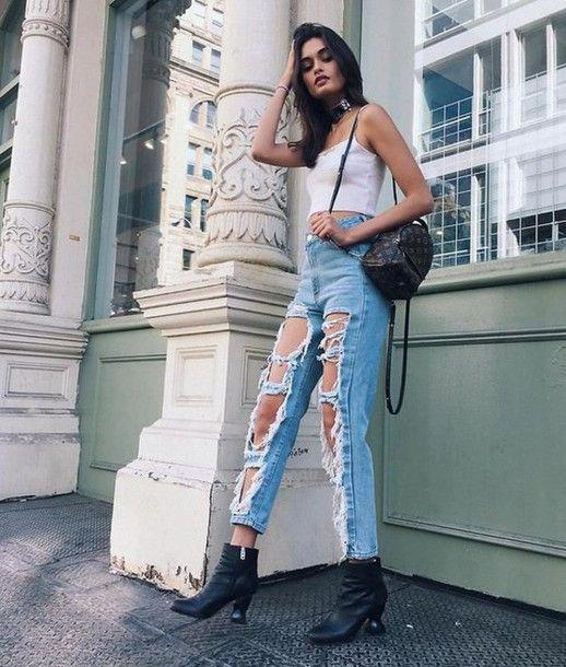 Bag: louis vuitton backpack mini backpack louis vuitton backpack jeans denim blue jeans ripped jeans