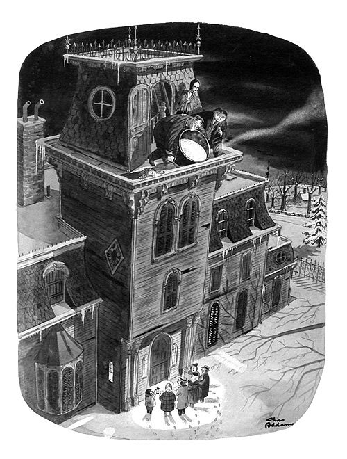the one, the only, Charles Addams: the boiling oil on the Christmas carolers cartoon--one of my favs.