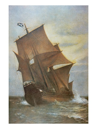The Mayflower Carrying the Pilgrim Fathers across the Atlantic to America in 1620