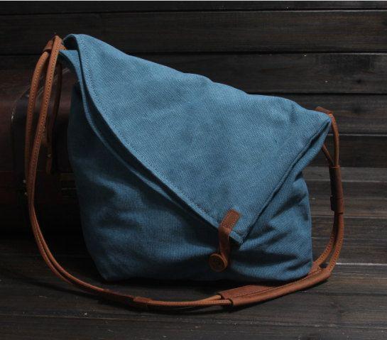 Blue Canvas Messenger Bag / Canvas Shoulder Bag / Messenger Bag /Canvas Student Bags /Canvas School Bag
