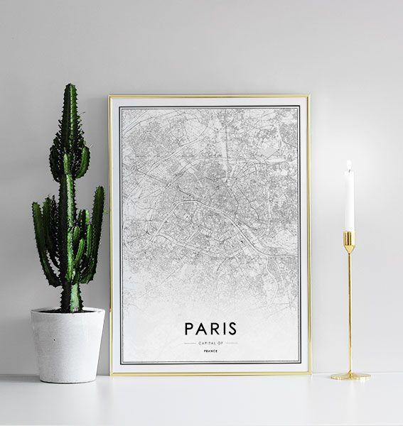 Poster met Parijs kaart   Zwart wit prints en posters