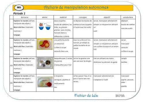 Ateliers de manipulations autonomes-période 1 en MS