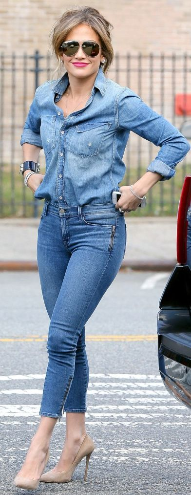 All In Denim Outfit