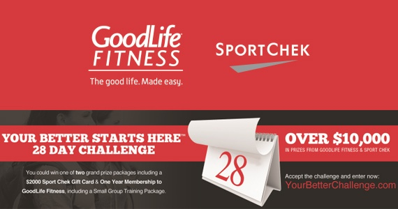 Win a $2,000 to Sport Chek and GoodLife Membership    Take the challenge: http://free4him.ca/sweepstakes/win-sport-chek-goodlife/