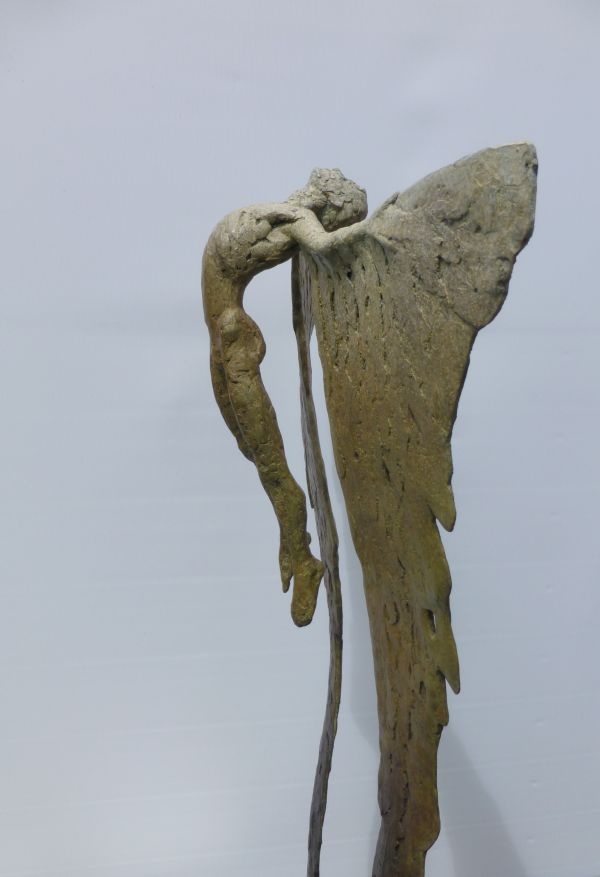Bronze Icarus sculpture statuettes sculpture by sculptor Nicola Godden titled: 'Icarus Rising VIII (Soaring and Melting Wings statue)' - Artwork View 3