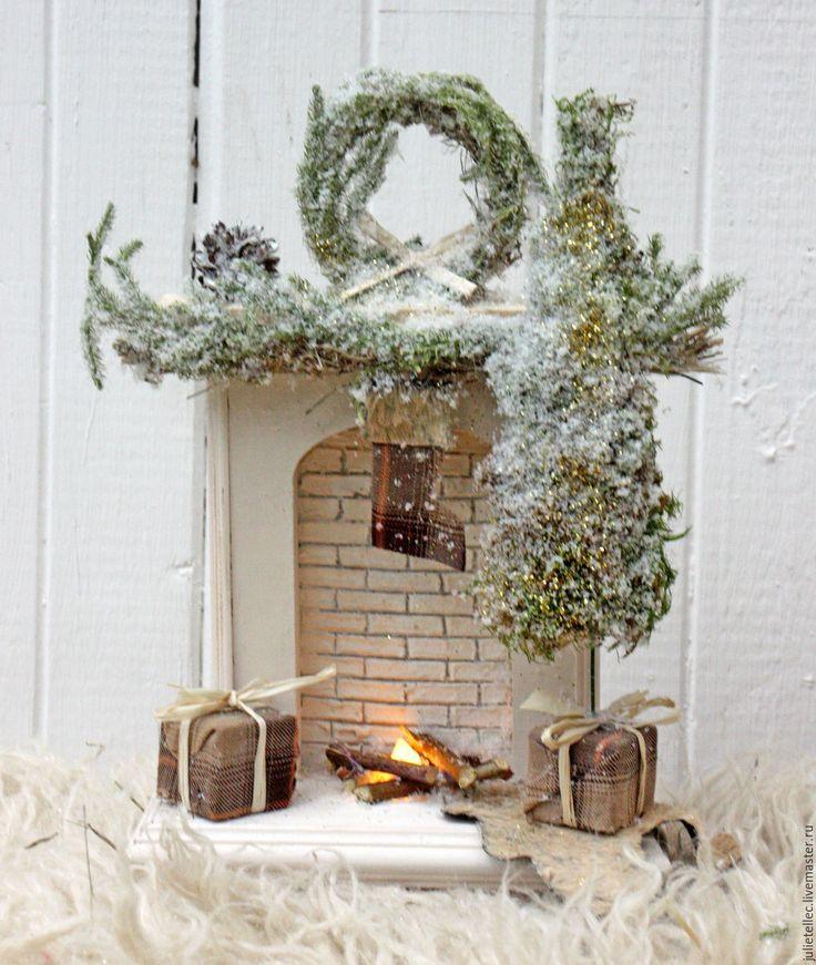 Купить Миниатюрный камин Шале - белый, бежевый, камин, зима, новогодний подсвечник, подарок, сувенир
