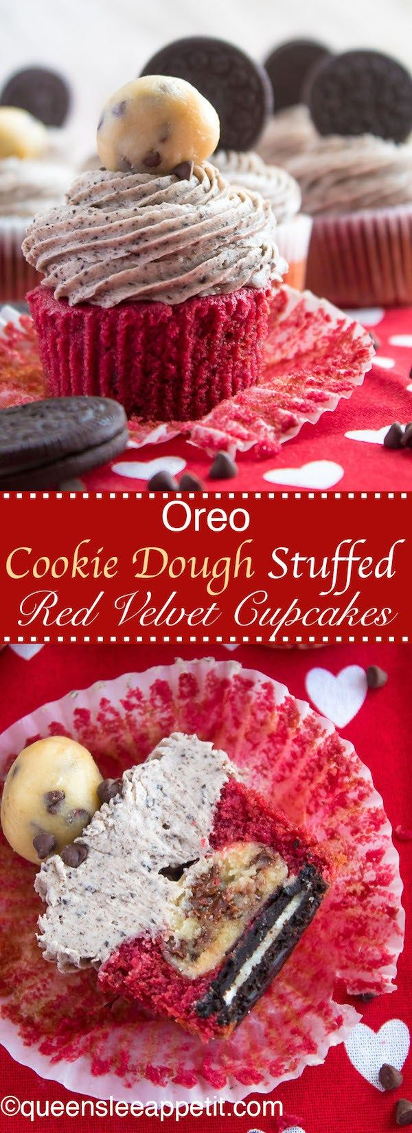 Oreo Cookie Dough Stuffed Red Velvet Cupcakes  | Posted By: DebbieNet.com