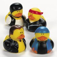 12 BIKER RUBBER DUCKS/Harley Motorcycle/Helmet/Birthday Party Favor/Decoration