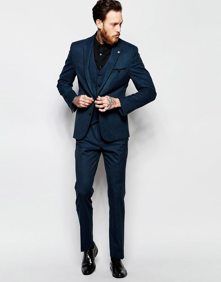 Image 1 of ASOS Slim Suit With Tipping In Deep Teal