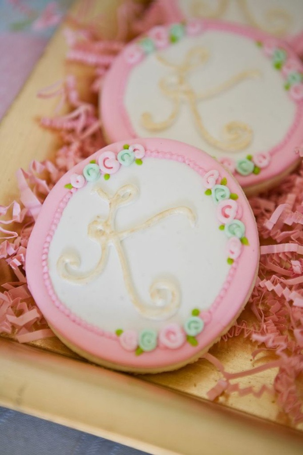 Darling Sugar cookies at a Shabby Chic Baptism Dessert Social via Karas Party ideas - ideas for Briannas Baptism