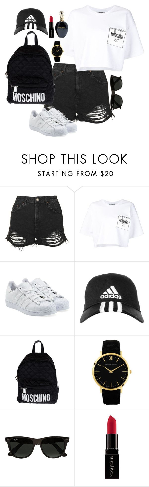 """""""Outfit 149"""" by lexiesimpson on Polyvore featuring Topshop, Moschino, adidas Originals, adidas, Larsson & Jennings, Ray-Ban, Smashbox, Roberto Cavalli, women's clothing and women"""