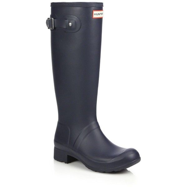 Hunter Original Tour Packable Rain Boots ($155) ❤ liked on Polyvore featuring shoes, boots, apparel & accessories, navy, lined rain boots, rubber sole boots, foldable rain boots, rubber sole shoes and wellies boots