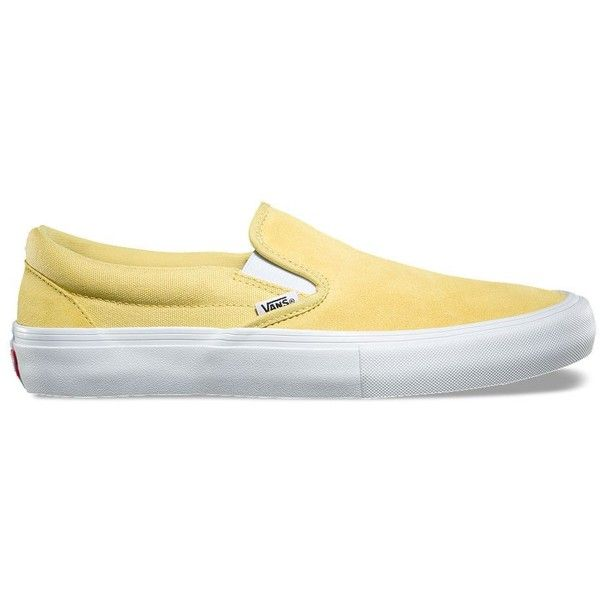 Vans Slip-On Pro ($60) ❤ liked on Polyvore featuring men's fashion, men's shoes, yellow, yellow mens shoes, vans mens shoes, mens slipon shoes and mens slip on shoes