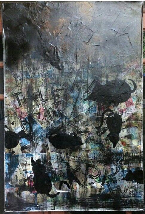 """Money mouse"" Mix media on canvas 2013"