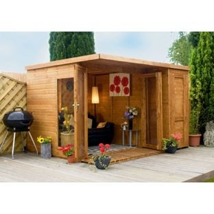 Summer Houses :: Garden Room With Side Shed X   Garden Sheds, Plastic Metal  Sheds, Corner Summerhouses UK
