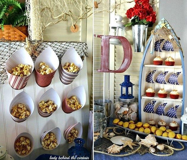 Nautical themed party. Love how they displayed party cones in the board. Perhaps that can be done with a foam board too.