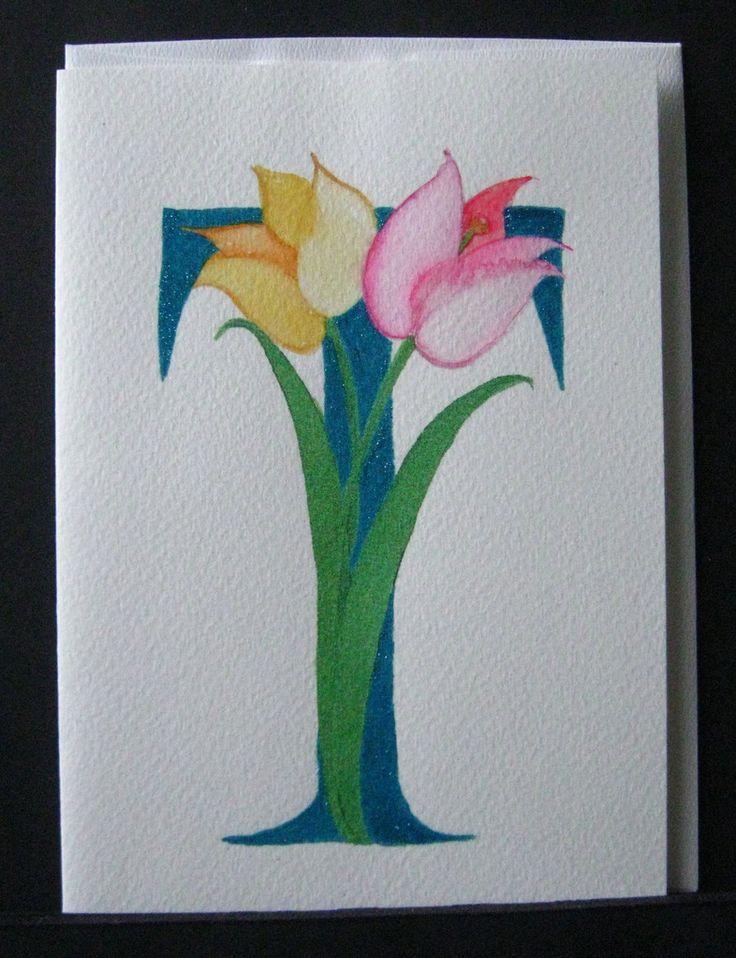 Illuminated letter T, hand made greeting card – Kathy Poitras Art