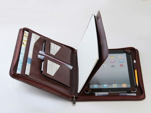 iPad Portfolio Case with Pockets Leather iPad Carrying Case Cow hide | theleathers - Bags & Purses on ArtFire
