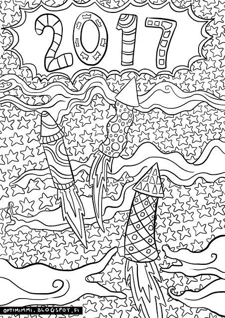 OPTIMIMMI | A free coloring page of New Year's Eve / Ilmainen värityskuva uudestavuodesta