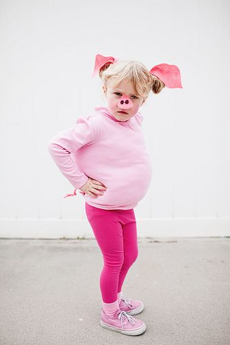 Easy Pig Costume--Maybe put the ears and nose on a headband and make out of paper?
