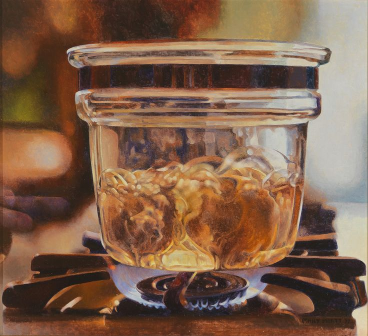 Mary Pratt Pyrex on Gas Flame 1977 Oil on masonite 30.5 x 33.5 cm Private collection / photo John Dean