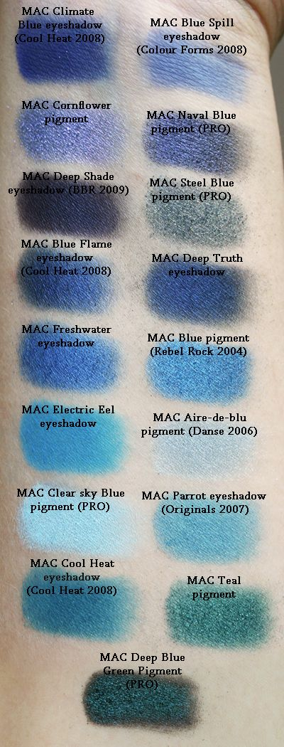 Mac pigment swatches, blues