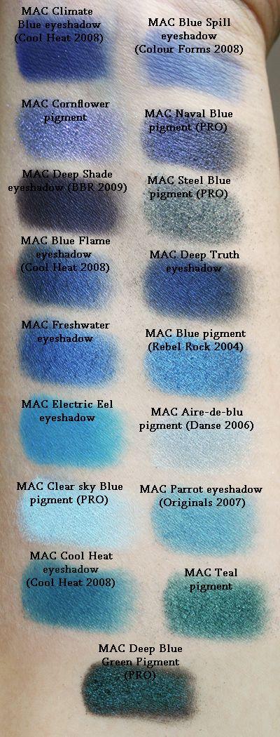 Mac pigment swatches, blues