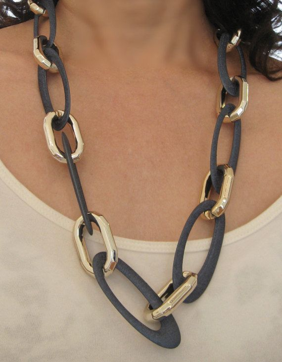 Trendy Long Chain Necklace in blue and light gold oval by maylui