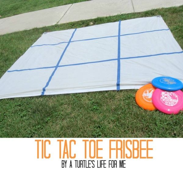 Tic Tac Toe Frisbee...fun summer twist on a classic game. Alternatives, draw the grid in beach sand, use skipping ropes...
