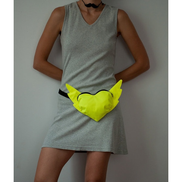 Street fashion Neon Yellow Heart shaped Fluorescent Neon by Marewo via Polyvore