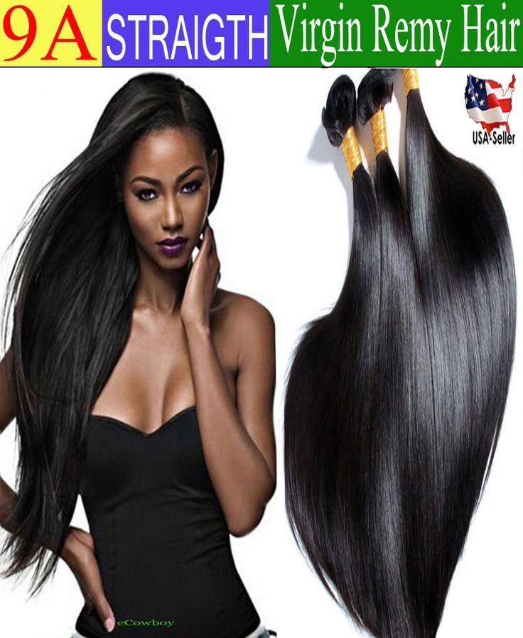 9A Straight Brazilian Real Virgin Human Hair Weave Remy Lovely Hair Black #1B