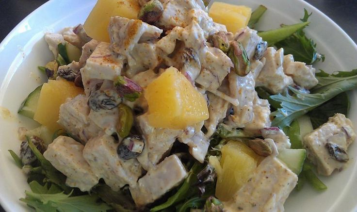 Day 28 - Lunch - Coronation Turkey (Mayo, curry powder, sultanas, pistachios and pineapple) and salad greens. Last of the roast turkey thank goodness.