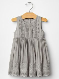 Baby Gap Eyelet Party Dress in Silver (2014)