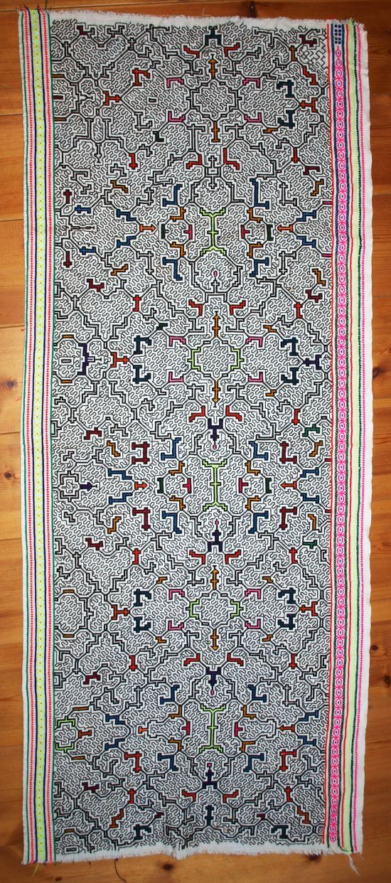 Shipibo embroidered textile, white : Shipibo Conibo Handicrafts : Shamanic Art & Music : Shop : Home : sensatonics