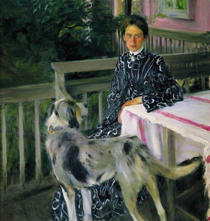 Portrait of Yulia Yevstafievna Kustodieva, the artist's wife - Boris Kustodiev, 1903