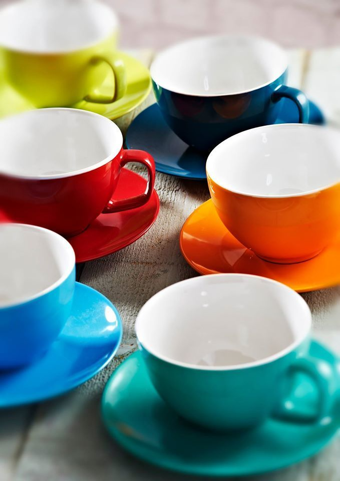 Funky Coloured Tea Cups & Saucers
