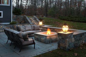 Idea of layout/furniture surrounding square fire pit.   Sudbury - traditional - Patio - Boston - Pinney Designs