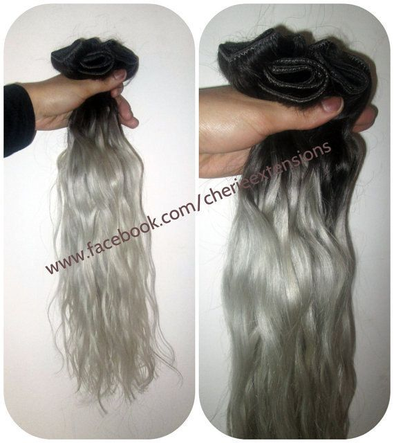 1B Off Black Silver Grey Hair Extensions by CherieHairExtensions