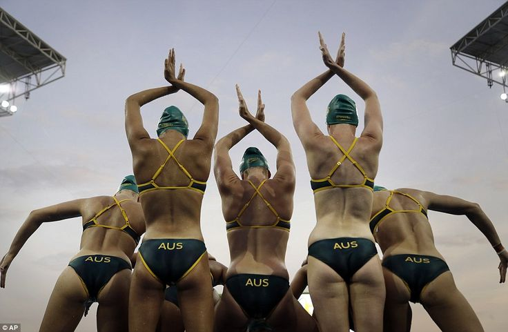 Burning hundreds of calories and working virtually every muscle in the body, swimming is one of the most physically-demanding disciplines at the Rio Olympics. Pictured are members of the Australian synchronized swimming team