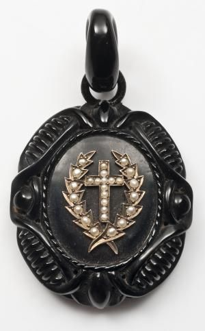 Was All Black Victorian Jewelry Meant for Mourning?: Laurel and cross pearl inlayed mourning pendant in Vulcanite, c.1880