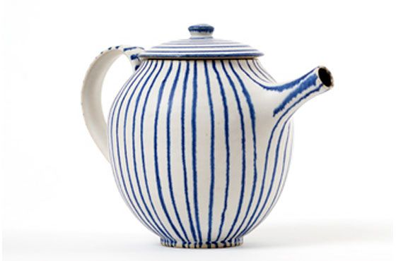 "Teapot by Sue Binns. Loved my time in her London home many years ago. ""My inspiration comes from Mediterranean pottery, Japanese fabrics and ceramics but mainly from 1950s Rye Pottery which was around in my home when I was growing up."""