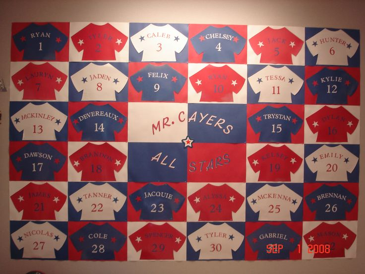 "Red, white, and blue t-shirts (sports jerseys) with student names and numbers written on them is a fun idea for an ""All Stars"" Back to School bulletin board display idea."