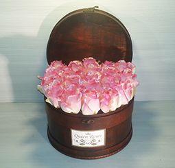 QM166/ Queen Roses rózsaszín selyemrózsa rózsadoboz faládika
