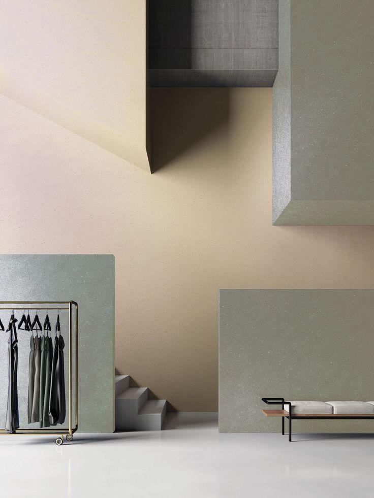 De lijn 'Myart' van SanMarco is ook perfect te gebruiken voor wanden van kantoorruimtes en kledingwinkels. De microkristallen welke verwerkt zijn in dit product, geeft een glinstering mee.
