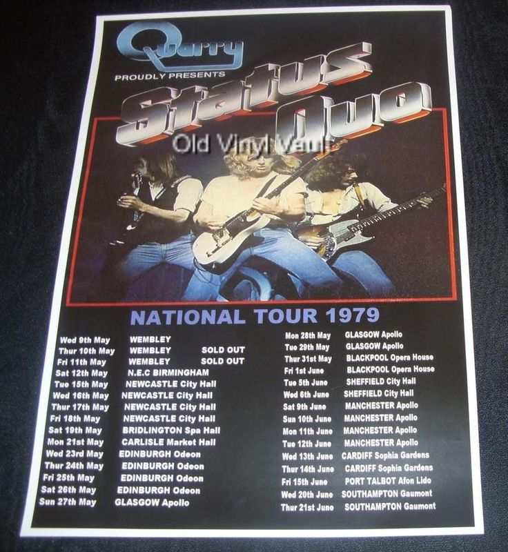 Status Quo concert poster UK Tour 1979 new A3 size repro | eBay